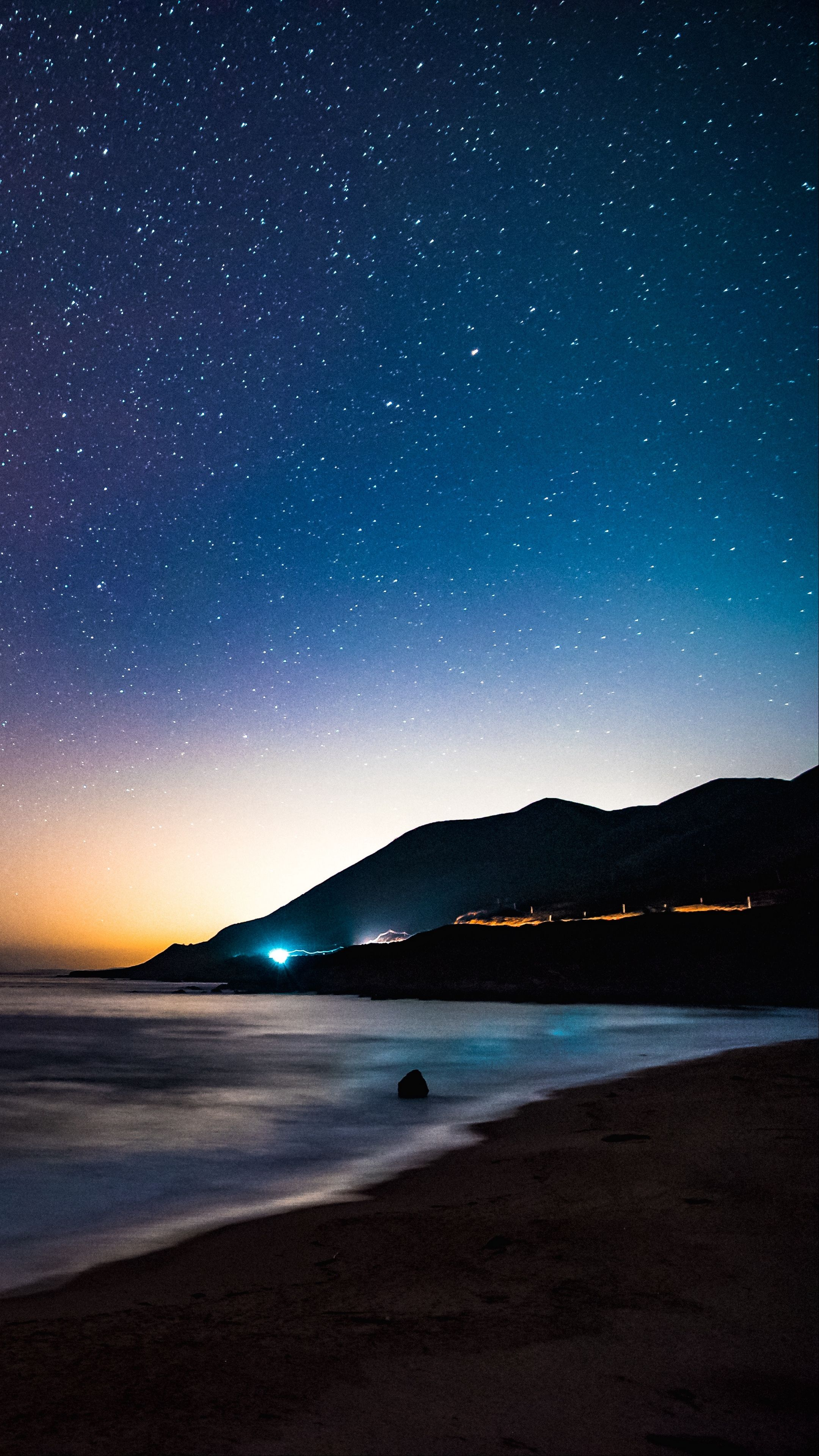 nature starry sky mountains