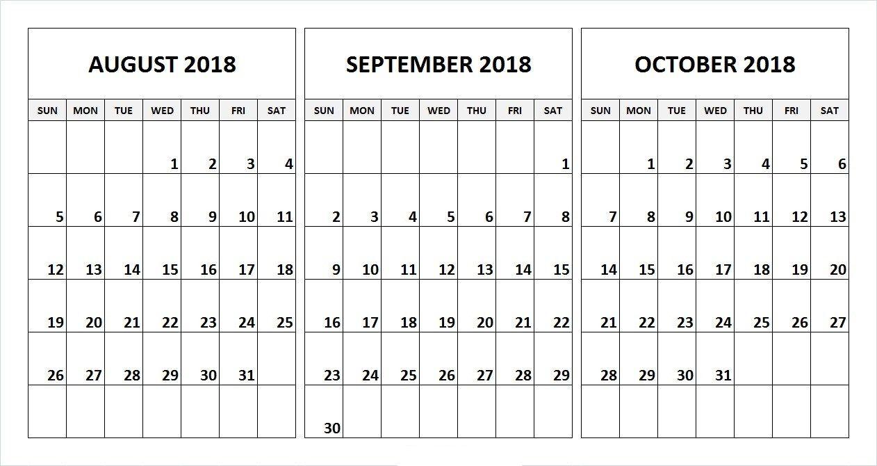 August September October 2018 Calendar Desk Template August