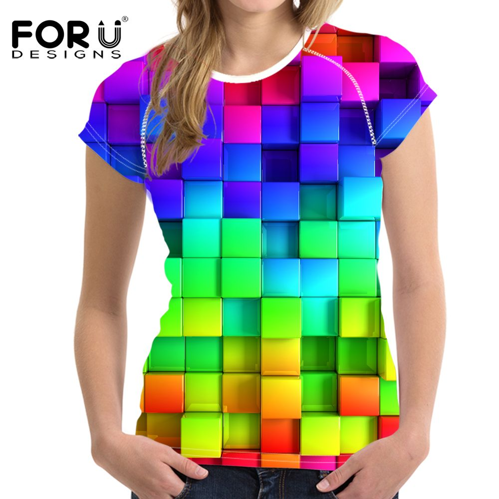 FORUDESIGNS Bright Mixed Color T Shirt for Women Stylish Lady Clothes Fashion  Tops Tees Blusa Female O Neck T-shirt Girls Plus   Price   44.38   FREE ... aaf664b7b89f