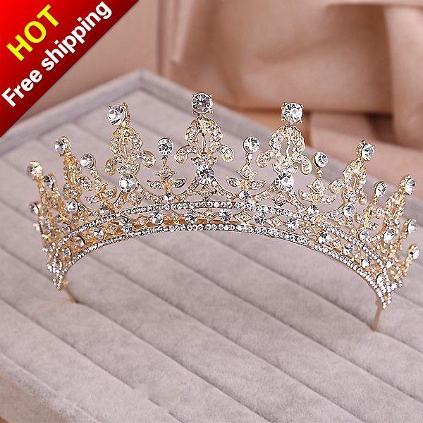 Золото серебро два тона свадебное тиару корона театрализованное свадебные аксессуары головной убор повязка на голову свадьбы тиару горный хрусталь купить на AliExpress #crowntiara
