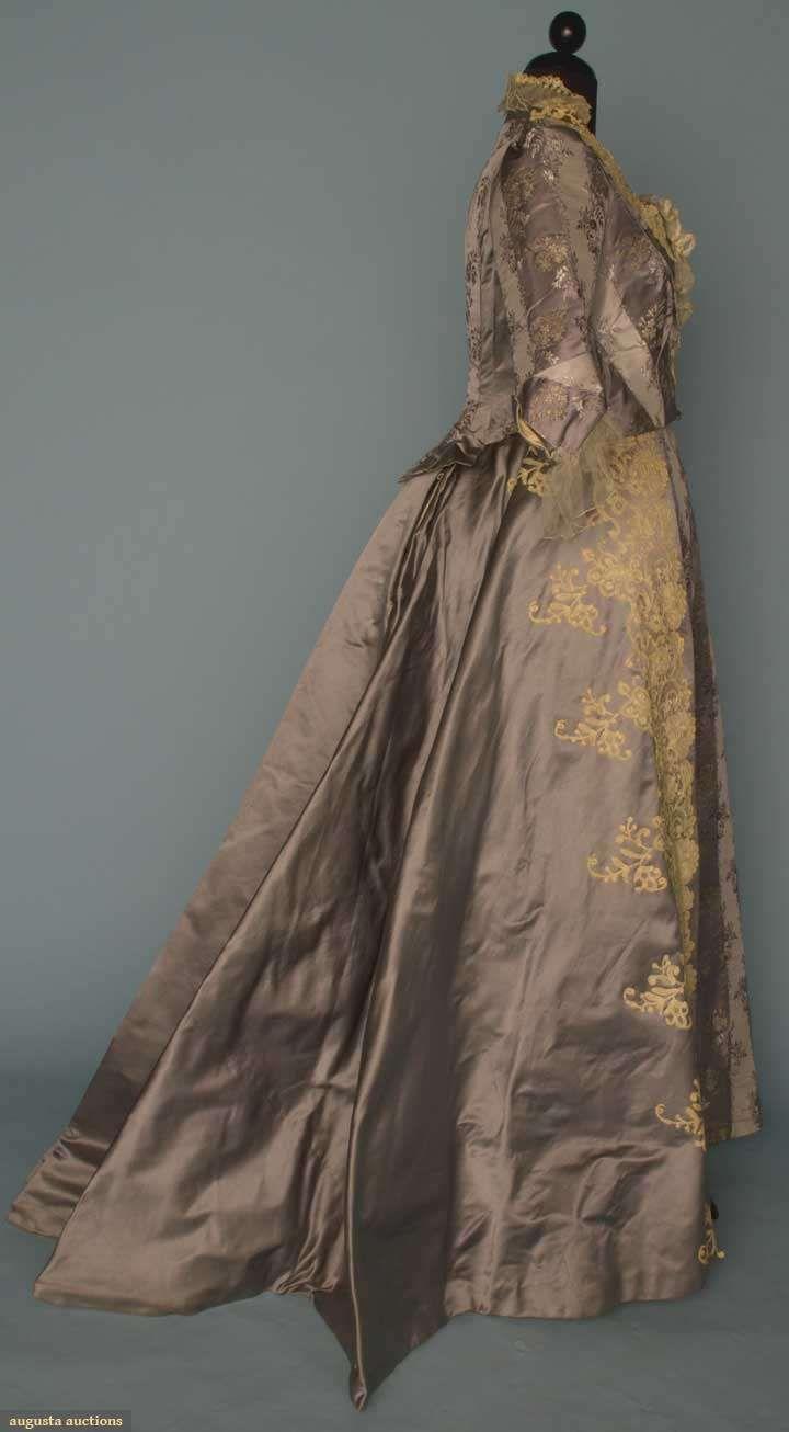 Steele blue silk u lace evening dress s piece fitted bodice