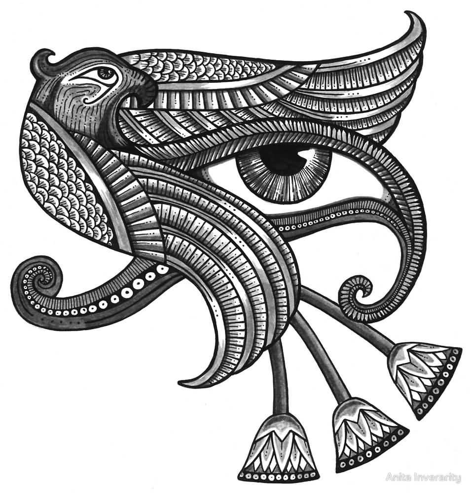 Wonderful Grey Hawk Shape Horus Eye Tattoo Design