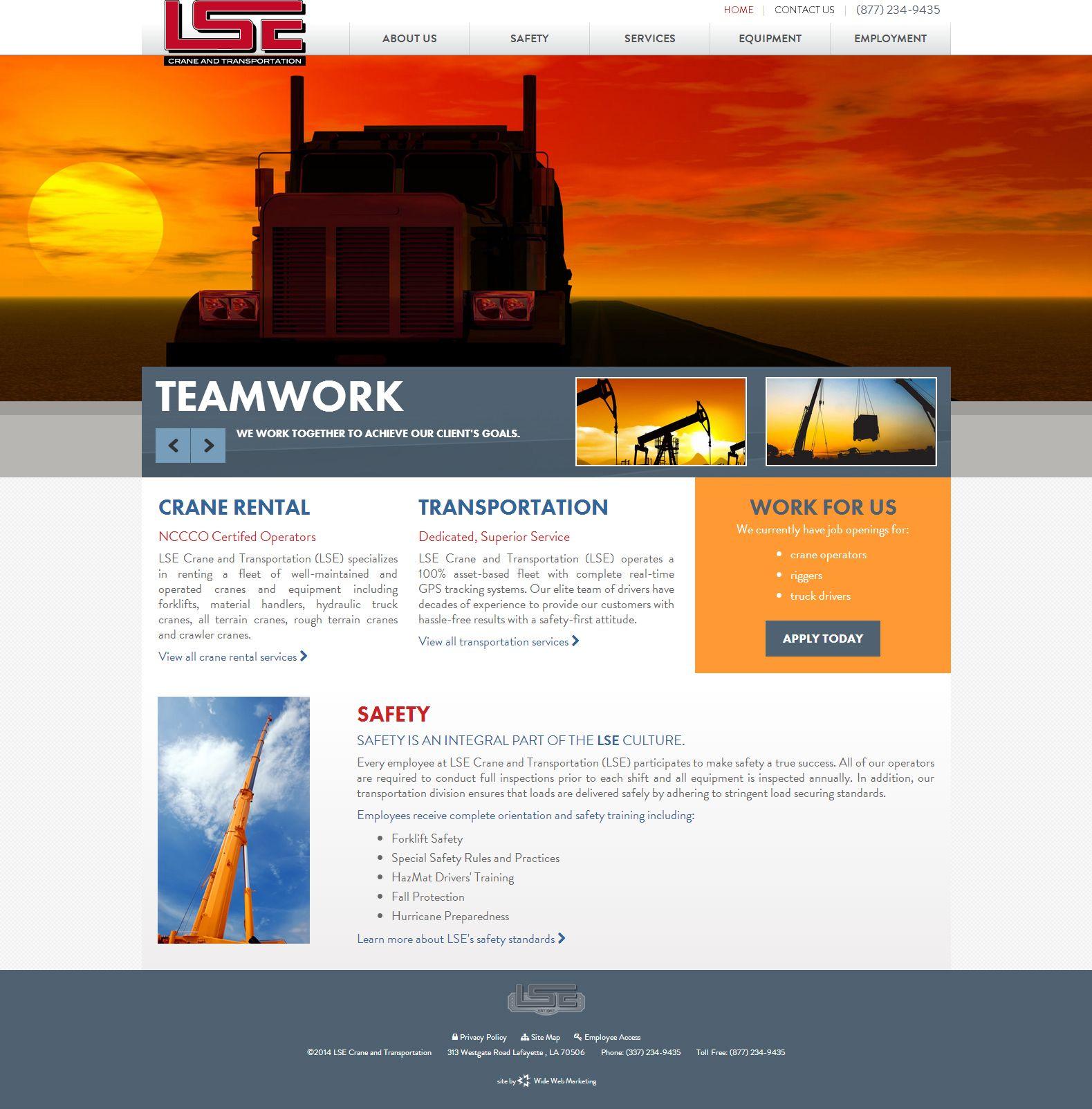 Lse Crane Transportation Website Design Development Features Slideshow Responsive Desi Responsive Web Design Website Design Online Marketing Strategies