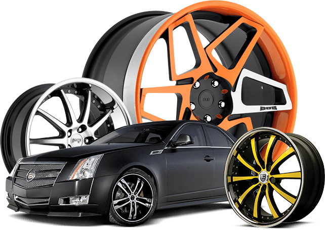 Black high end car and three colored rims | Custom wheels and tires, Custom  wheels, Rims and tires