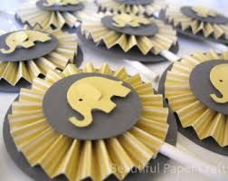 Gray And Yellow Baby Elephant Rosettes Cupcake Toppers  Elephant Baby  Shower Decorations.