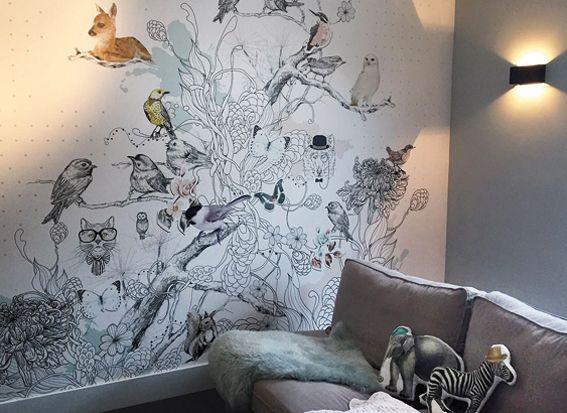 Behang Kinderkamer Vogeltjes : Bijzonder mooi dierenbehang droomdieren van stories on the wall