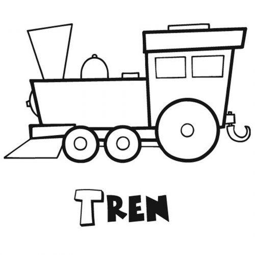 Dibujo para imprimir y colorear un tren  Dibujos para colorear de