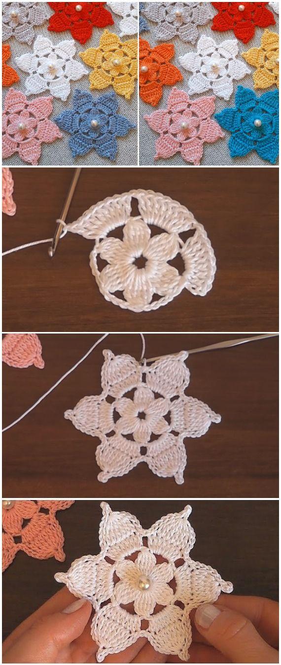 Crochet 6 Petal Flowers With Pearls