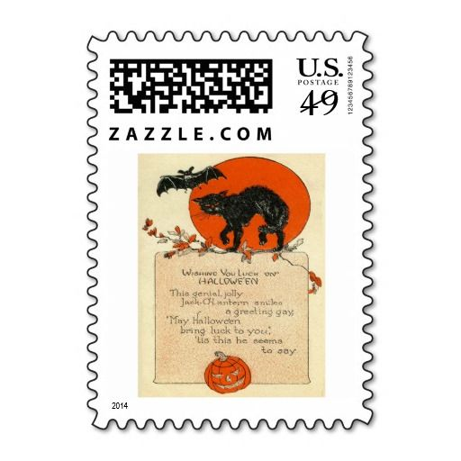 Black Cat Bat Full Moon Fall Leaves Postage Stamp
