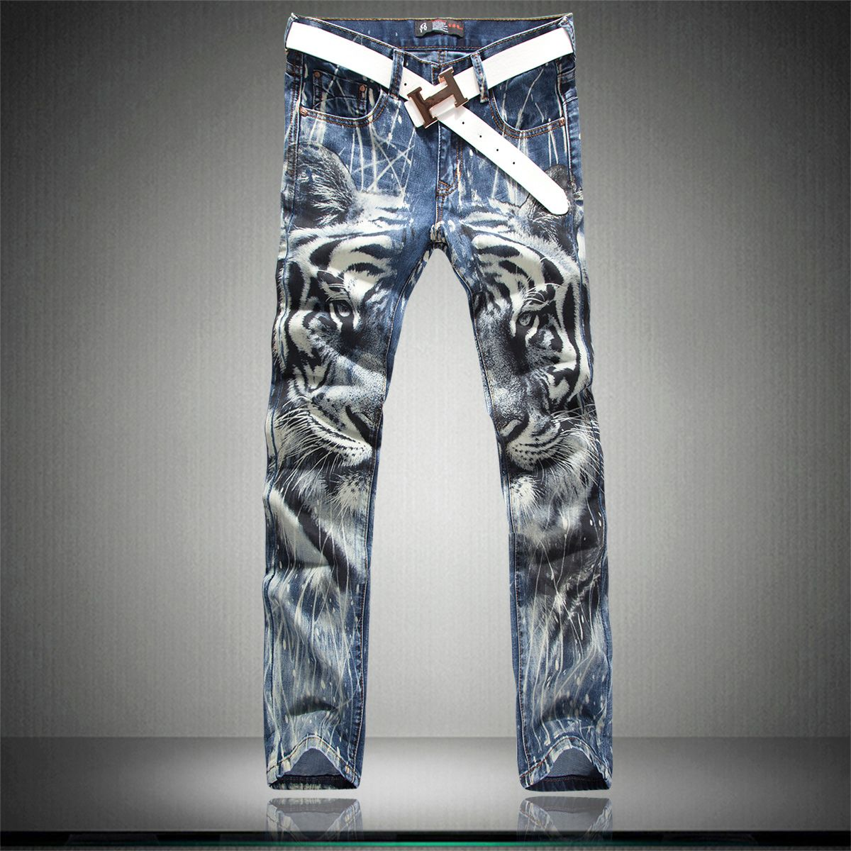 Jeans Kingdom>> 2014 Powerful King Brother Jeans Fashion Tiger Pattern Jeans  Men Animal Printed