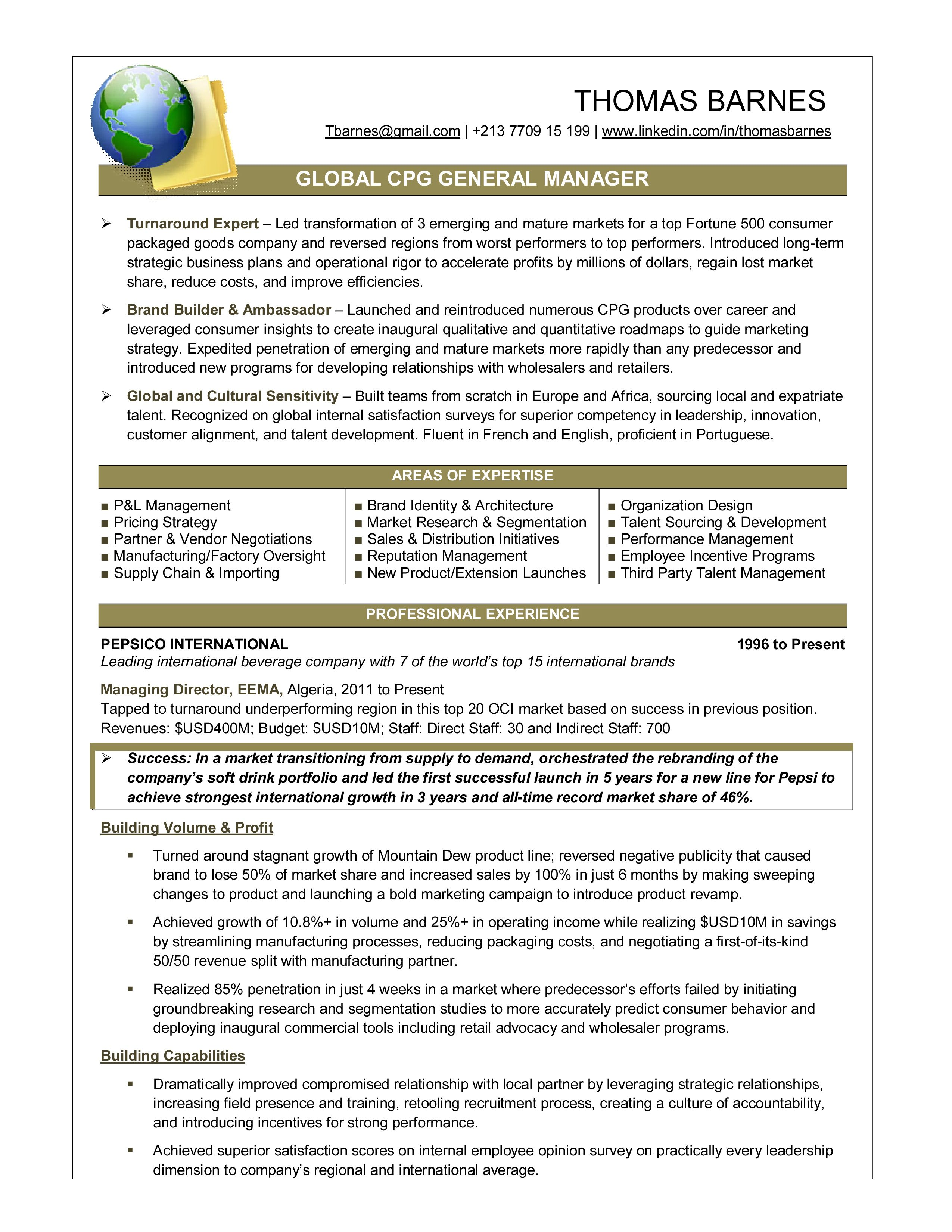 Consumer Packaged Goods Executive Cover Letter For Resume Executive Resume Good Resume Examples