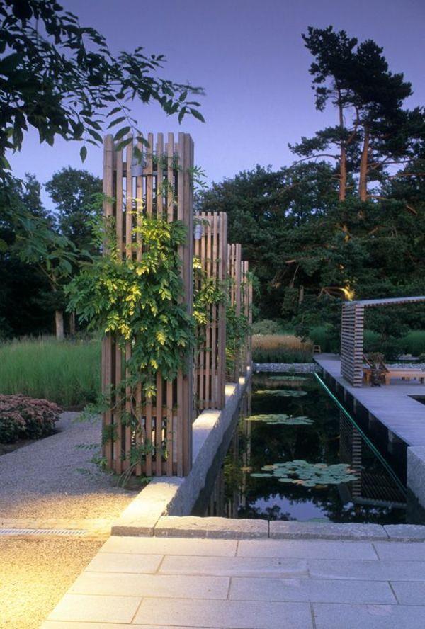 Zeitgenössischer Garten Teich Holzdeko