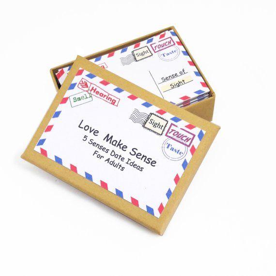 5 Senses Gift, date night box, 5 senses Gift Ideas, 5 senses Date ideas, Date Night Cards, Love Coupons, Romantic Gift,For Wife, For Husband