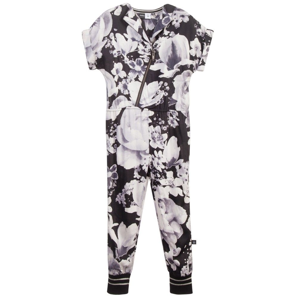 Girls Black & White Floral 'Anita' Jumpsuit, Molo, Girl