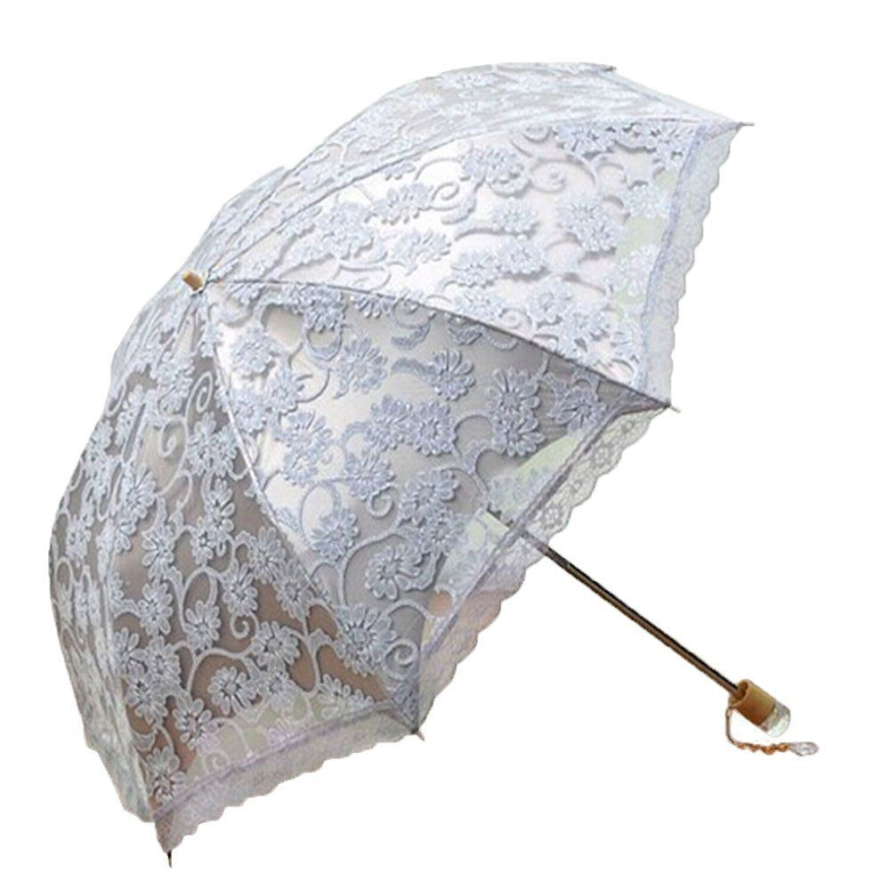 Amazon.com : Leegoal Ladies Umbrella Lace Parasol Folding Umbrella Sun Shade Anti-uv (grey) : Patio, Lawn & Garden