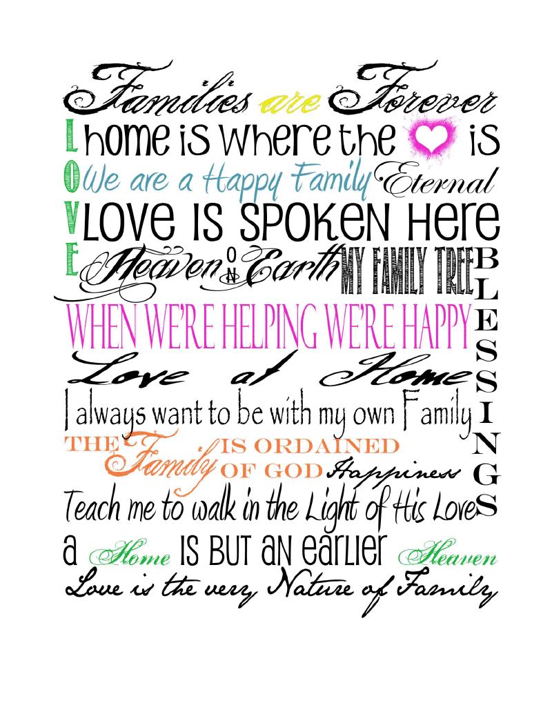 Family Subway Art Printable Print Text Family