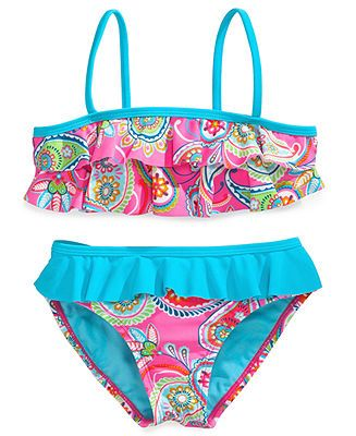 69cd41b521 Breaking Waves Little Girls' or Girls' 2-Piece Paisley-Print Bikini Swimsuit  - Kids Swimwear - Macy's