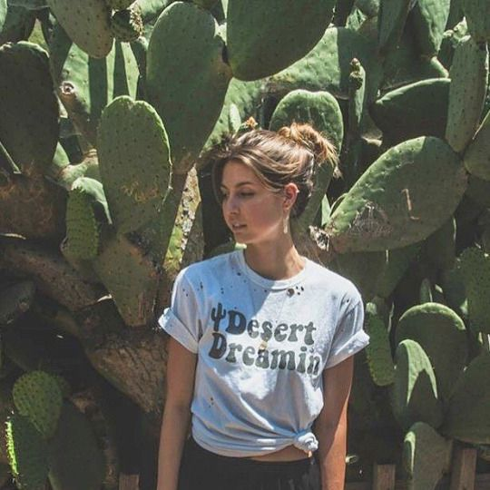 """Ashley Case in our """"Desert Dreamin"""" white tee with custom distressing #electricwest #desertdreamin"""