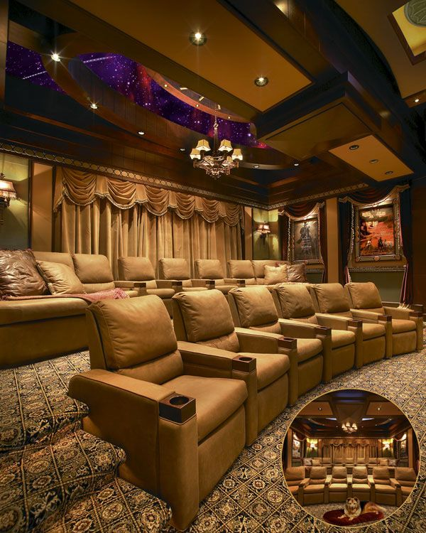 Small Home Theater Room Design: The Custom Carpeting Features An Old Carpet: Old World