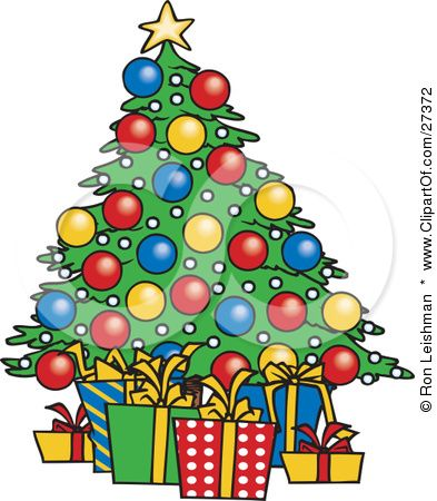 Clipart Illustration Of Wrapped Xmas Presents Resting Under A Colorfully Decorated Christma Cartoon Christmas Tree Christmas Clipart Free Christmas Tree Poster