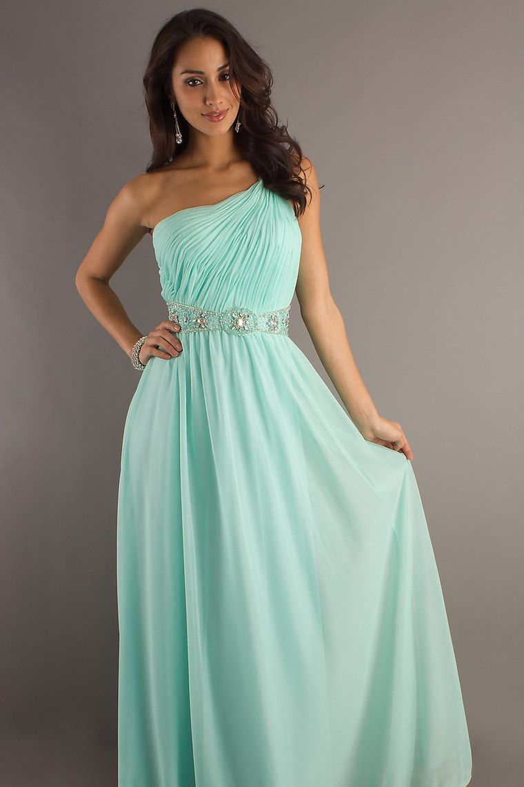 Cheap long prom dresses a line one shoulder floor length chiffon