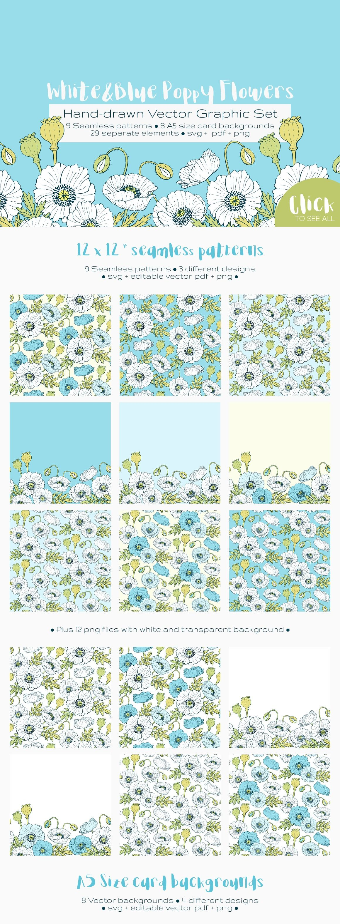 White & Blue Poppies Hand-drawn Vector Graphics Set by Annabella Keszi free download via 4vector.com | @4vector
