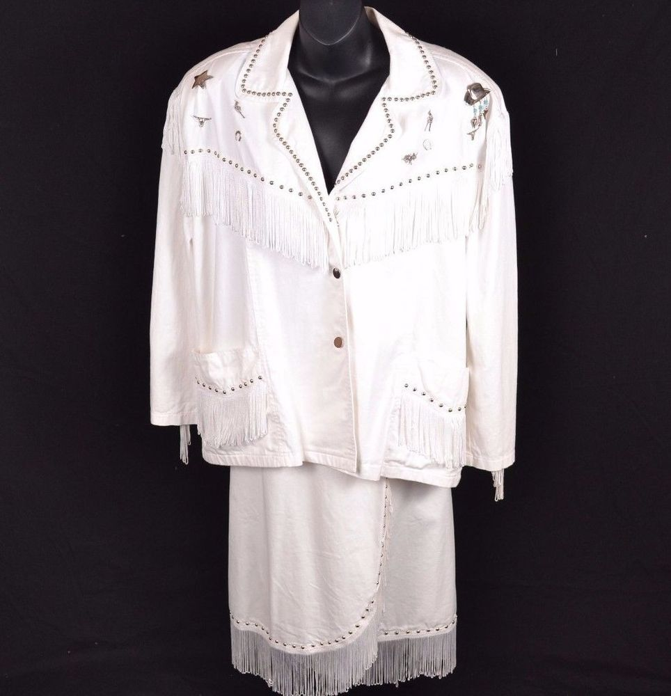 White Western Style Skirt Set Fringe Bling Cowboy Country Costume Womens Large #PatJanet #CompleteOutfit