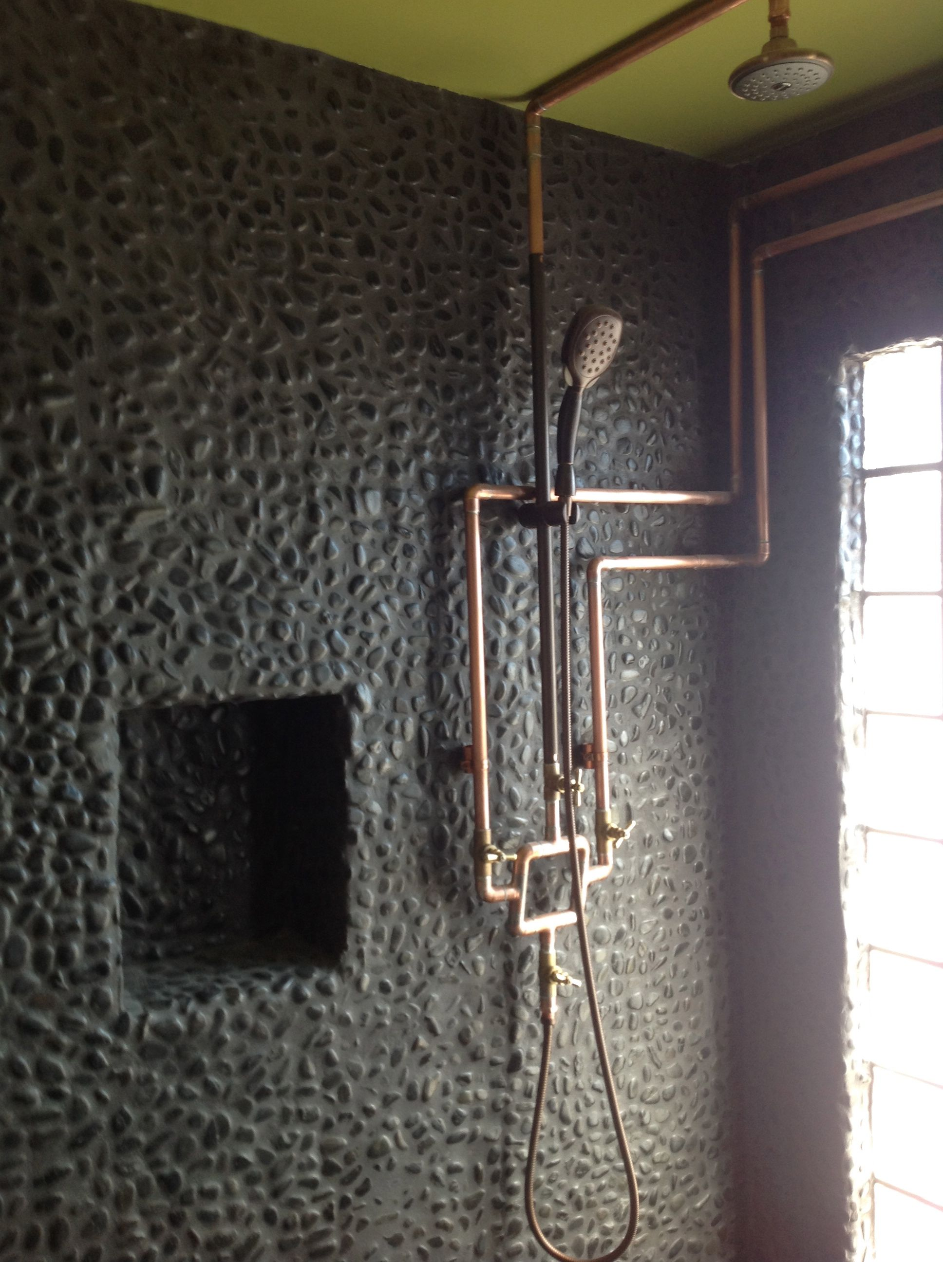 exposed pipe shower . Mancave Open Shower  Exposed Copper Plumbing Home Heating