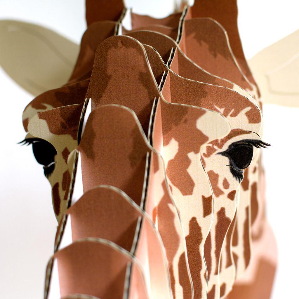 Juliette Lifelike Cardboard Giraffe Head - Cardboard Safari