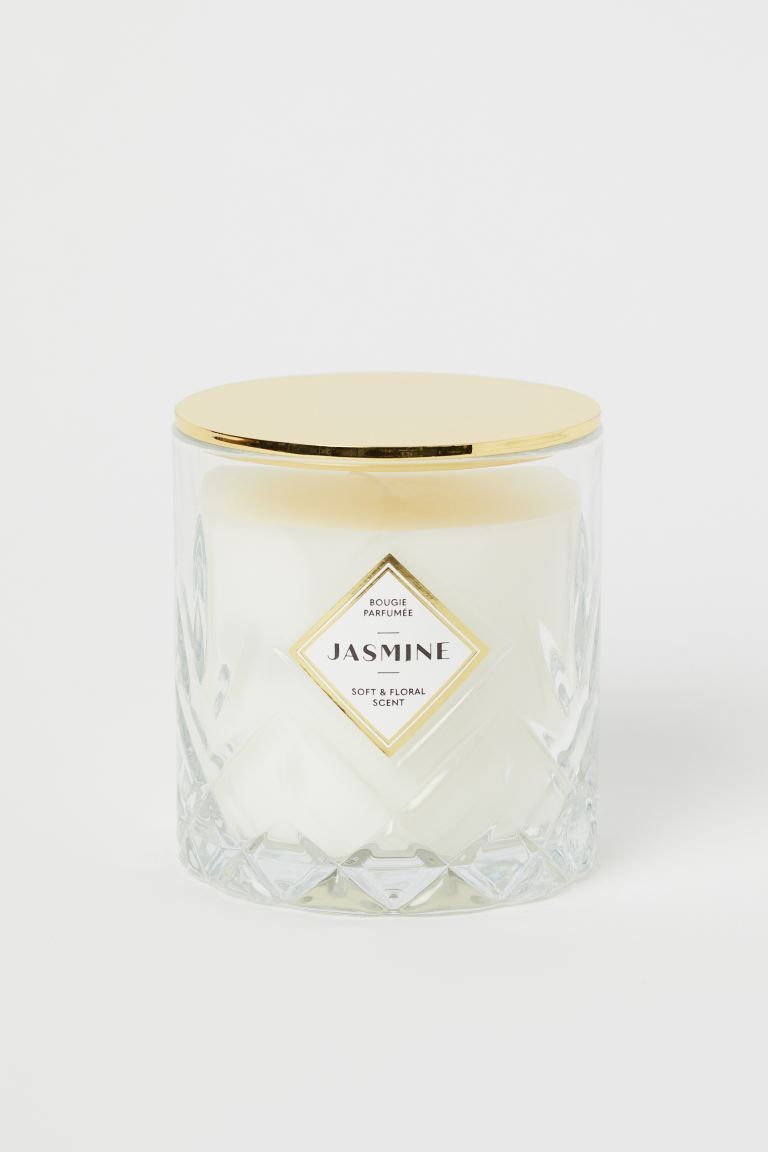Scented Candle In Glass Holder White Jasmine Home All H M Us In 2020 Scented Candles Floral Scented Candle Large Scented Candles