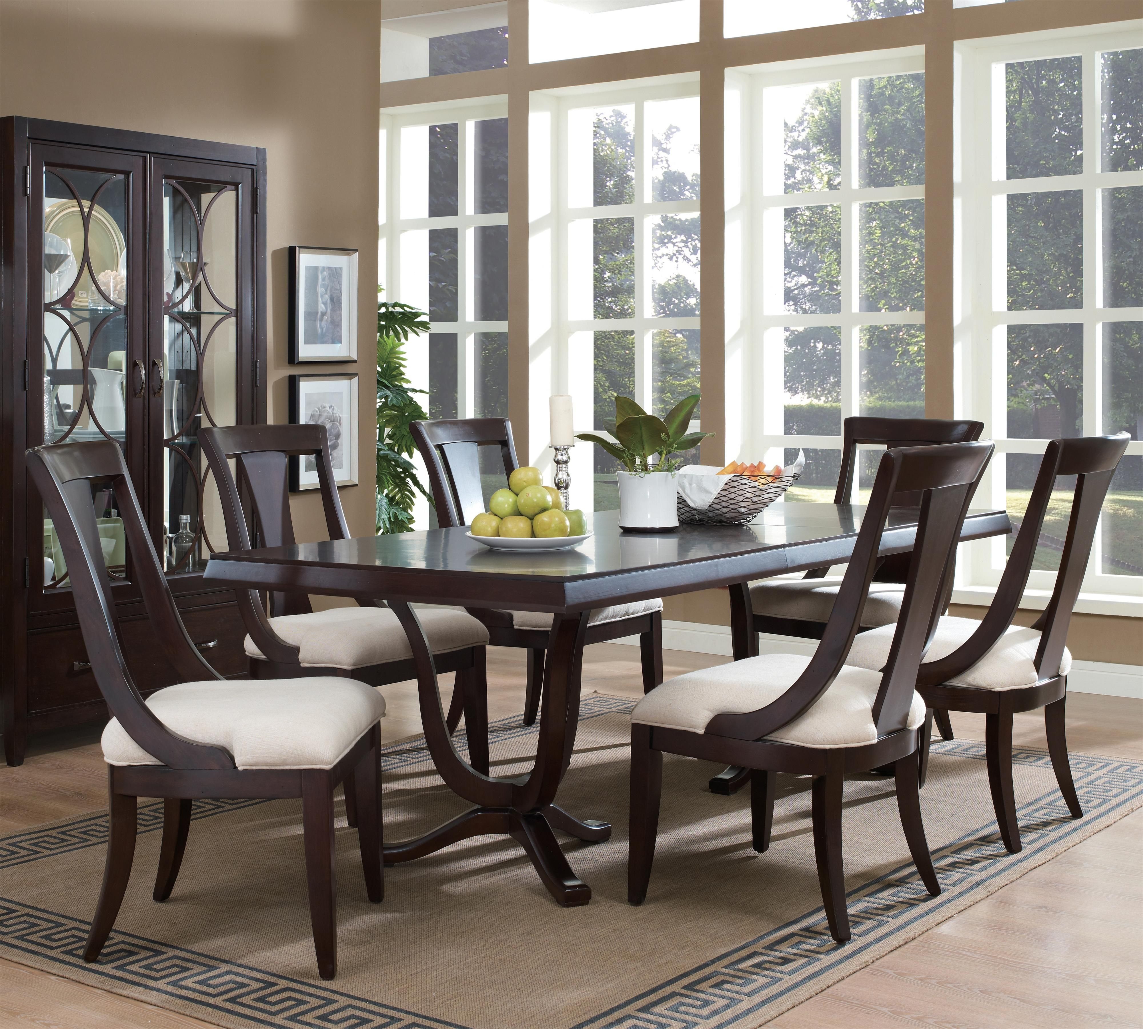 pulaski dining room furniture set. Plaza Square Double-Pedestal Rectangular Dining Table With Splat Back Chairs By Pulaski Furniture Room Set