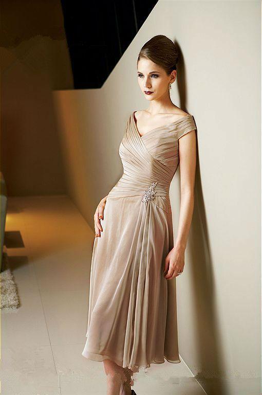 Mutter der Braut Kleid 2016 Tee Länge Mutter Kleider Chiffon Kurzarm ...