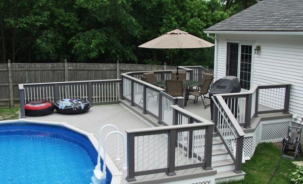 patio with above ground pool like the pool steps pool steps and ladders pinterest pool steps ground pools and patios