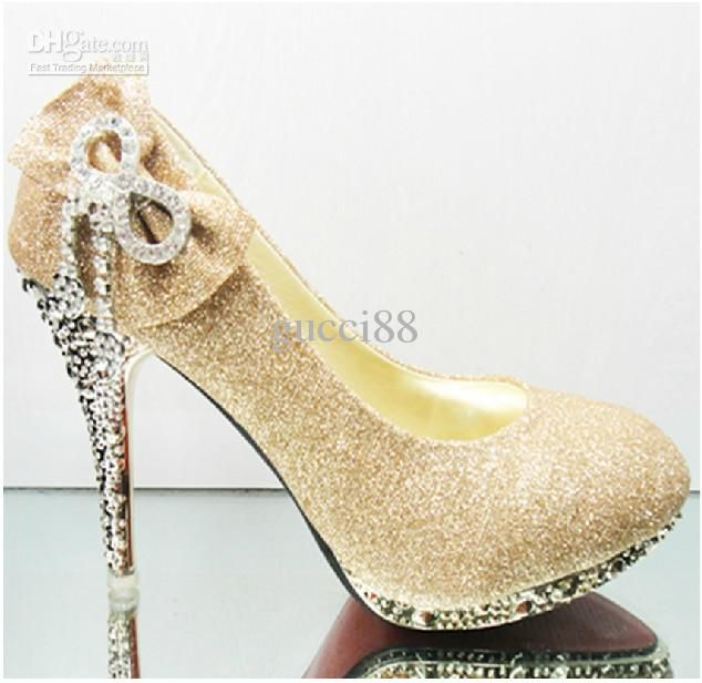 Wholesale Stiletto Heel - Buy Women s Gold Black Red Color Waterproof  Diamond Bow Dazzling High Heels Shoes Wedding Bridal Shoes 1d7982da1cd8