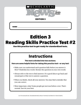 Reading Skills Practice Tests | Scholastic News 3 | MISC | Reading