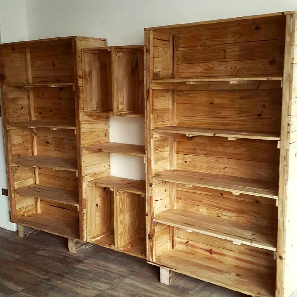 pallet shelves for bigger storage easy projects you can do with free pallets 101 pallets. Black Bedroom Furniture Sets. Home Design Ideas