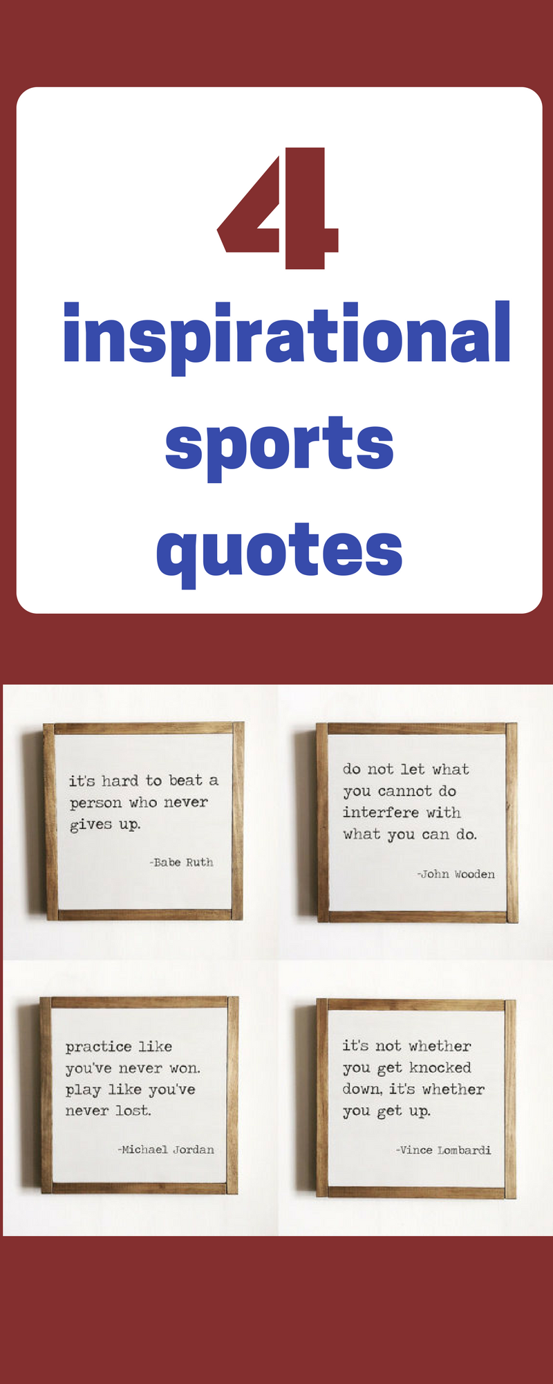7990f328ecf55 Sports quote set of 4, sports decor, kids decor, motivational quotes ...