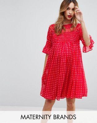 Vestido holgado de vichy con detalles fruncidos de ASOS Maternity