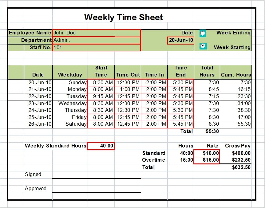 Timesheet excel templates 1 week 2 weeks and monthly for Break and lunch schedule template