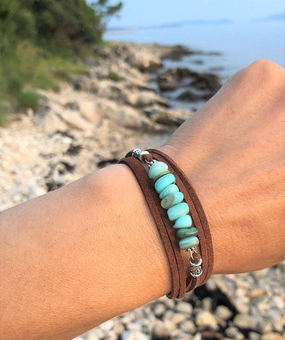 Photo of Free shipping Turquoise bracelet Bracelet Wrap bracelet Shell bracelets Bohemian bracelet Summer jewelry Gift for her Beaded bracelet