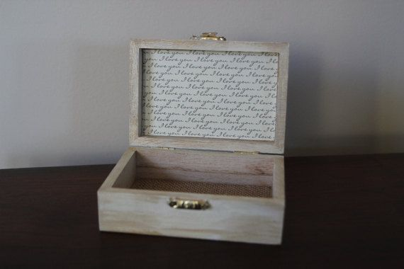 Elegant Ring Bearer Box with I Love You Print by Lifeallboxedup