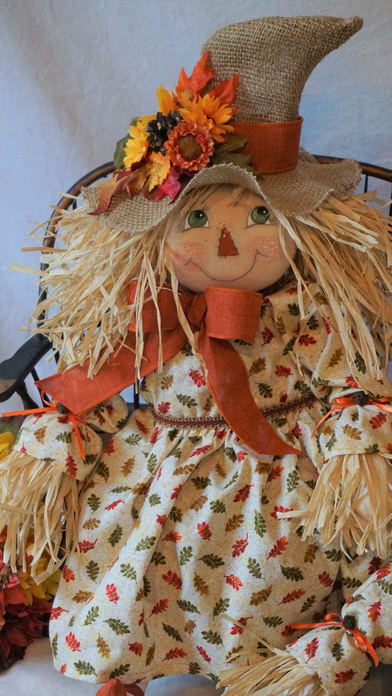 Scarecrow Primitive Fall Cloth Art Doll Handmade Scarecrow
