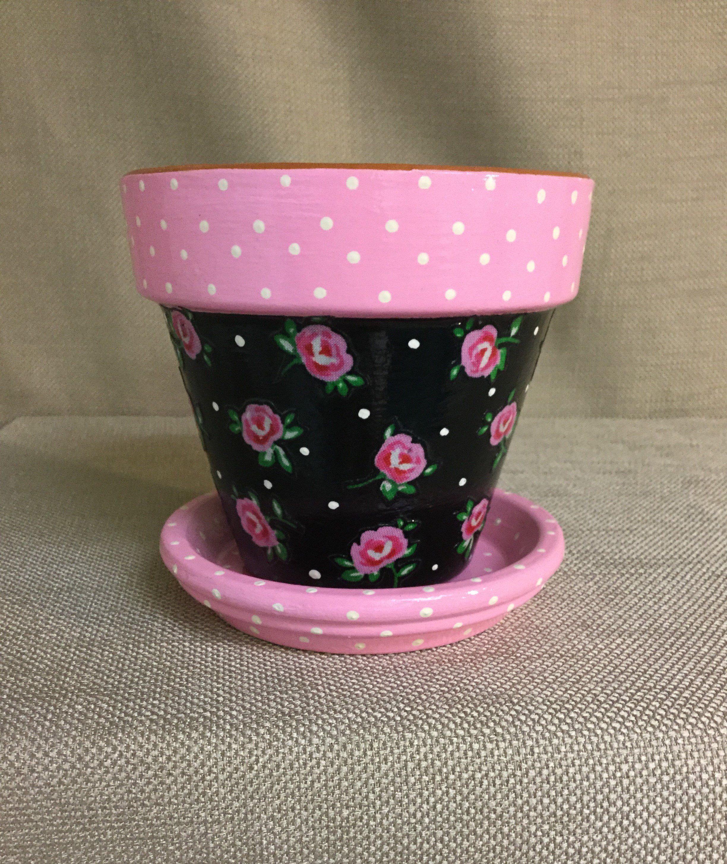 Rose Flower Pot with Saucer, Irish Rose Planter, Pink and