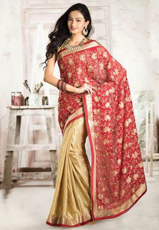 Red and Beige Faux Chiffon and Art Silk Jacquard Saree with Blouse