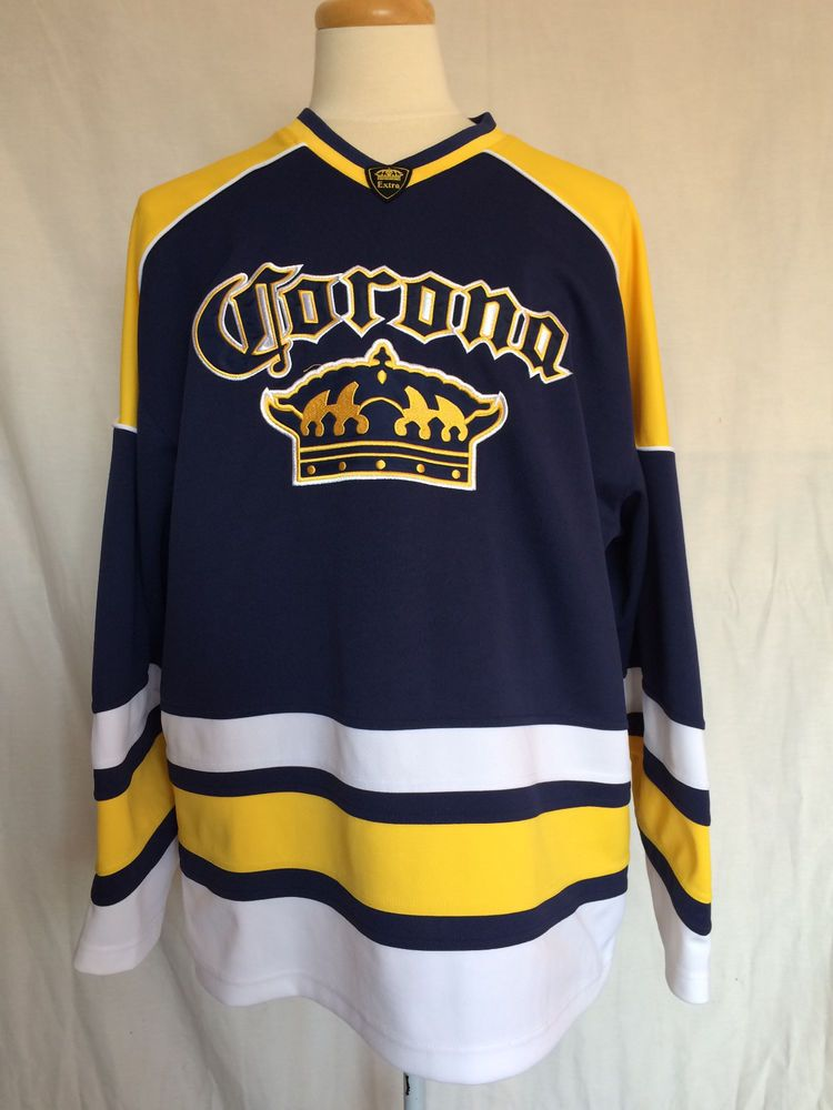 Corona Extra Beer Hockey Jersey Xl Blue Yellow White Official Licensed Product Coronaextra Long Sleeve Tshirt Men Yellow White Mens Tops