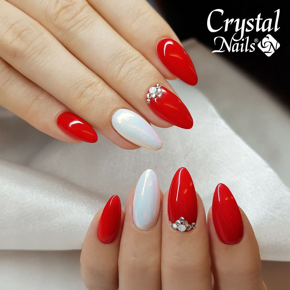 Christmas winter nail red and white pearl with jewels ...
