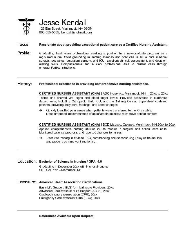 sample resume nursing assistants certified nursing