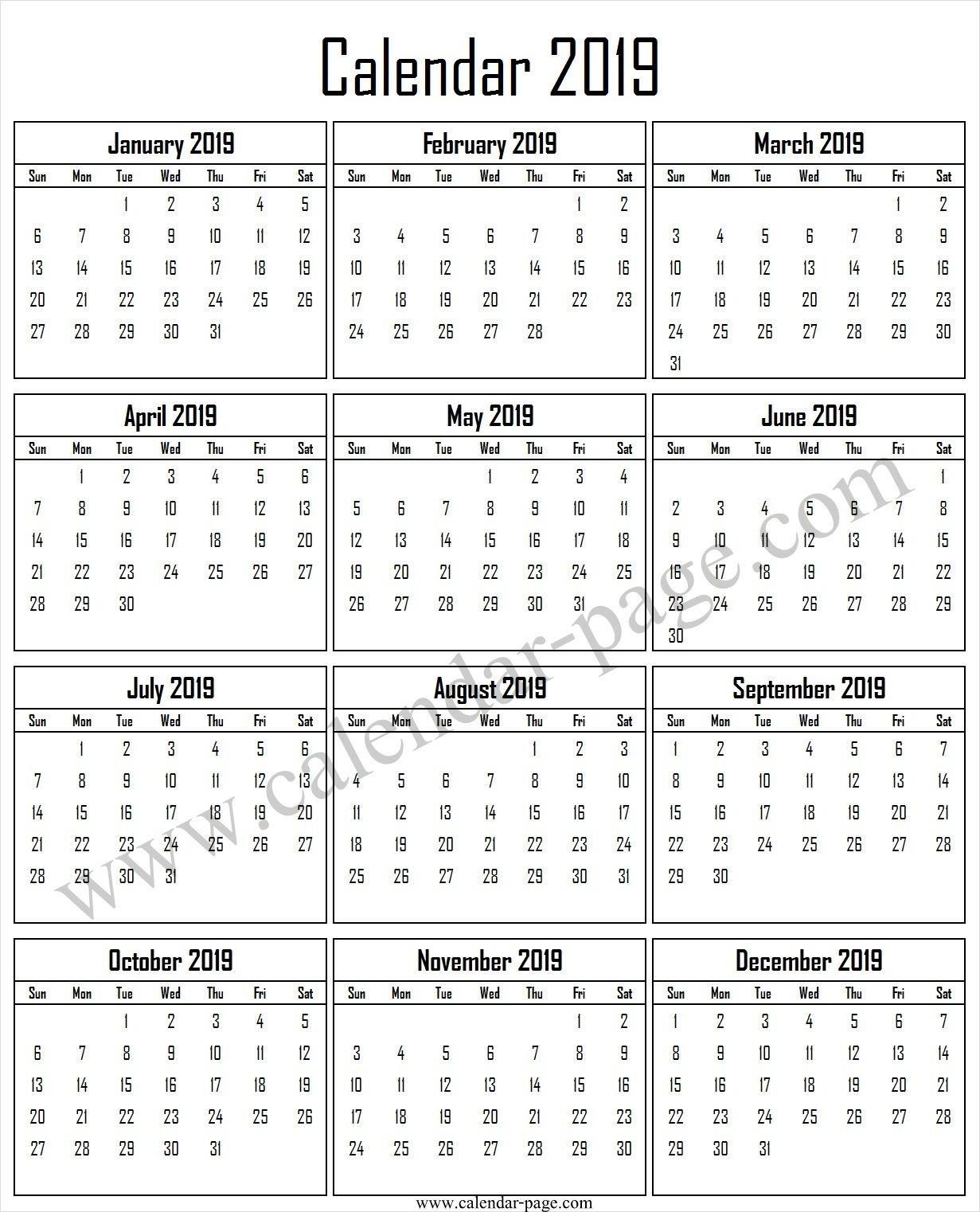 2019 Free Calendar To Print | 2019 Calendar Template | Free