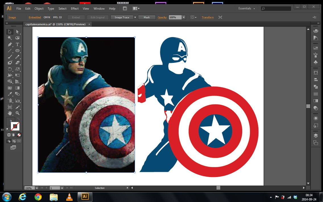3 Colors Capitain America while I couldn't sleep, DIY with illustrator!