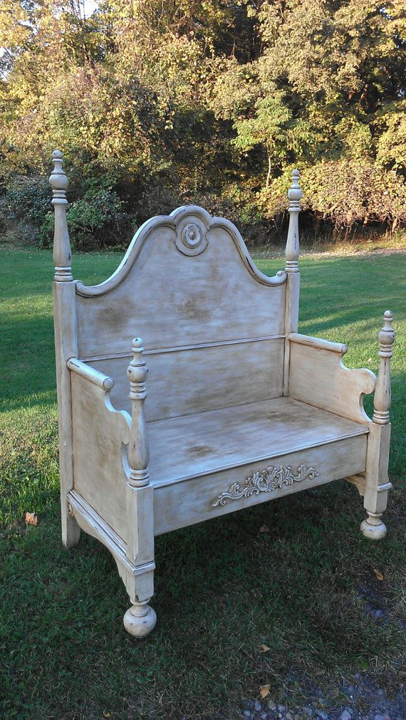 Shabby Chic Bench ~ Painted bench shabby chic cottage style bed